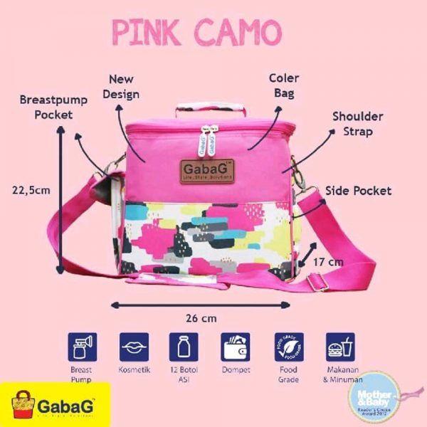 gabag cooler bag sling series pink camo